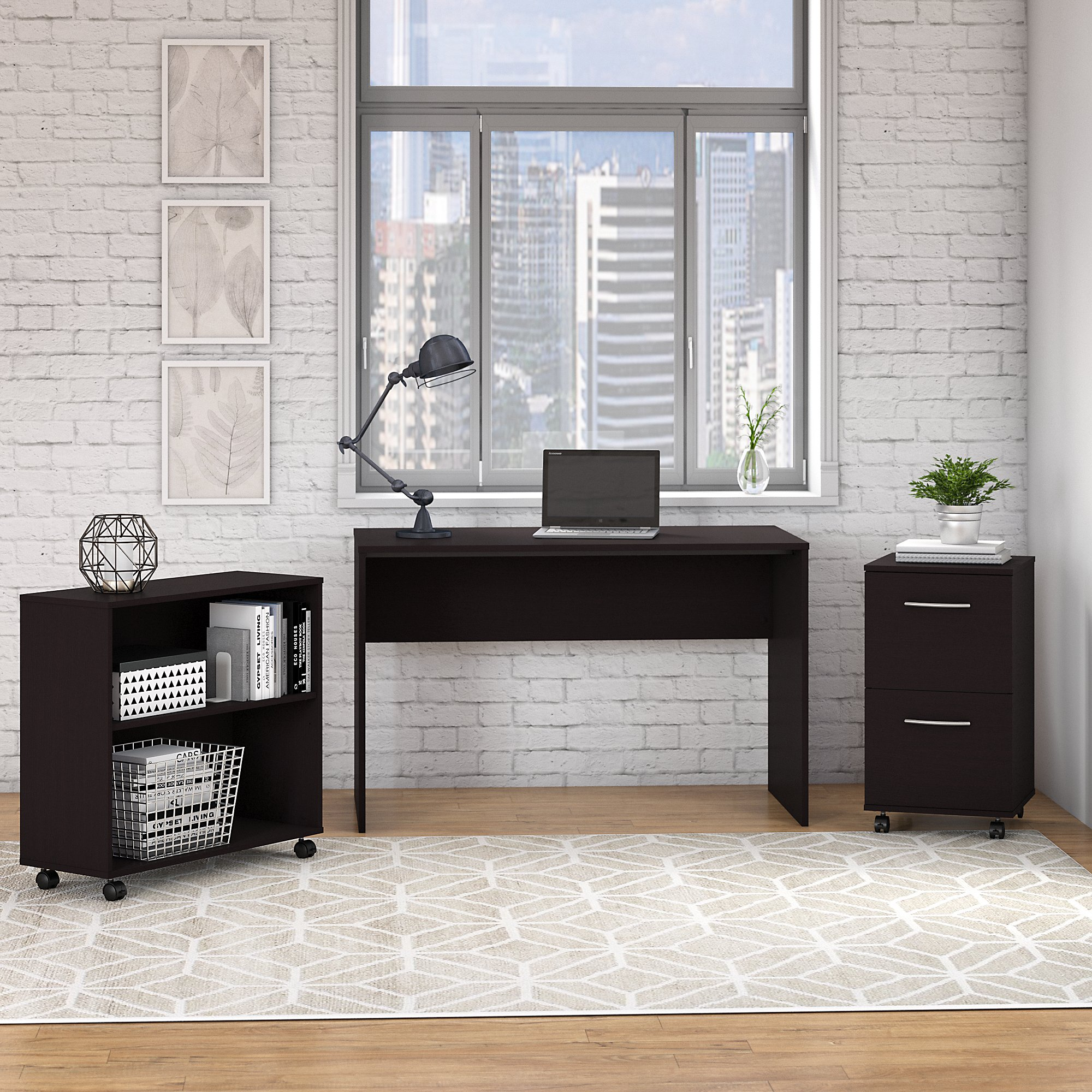 Bush Furniture Office Complete Small Desk With Mobile File Cabinet And Bookcase In Espresso Oak
