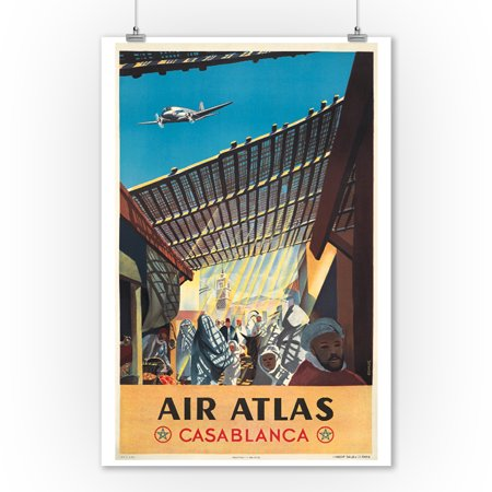 Air Atlas   Casablanca Vintage Poster  Artist  Anonymous  France C  1953  9X12 Art Print  Wall Decor Travel Poster