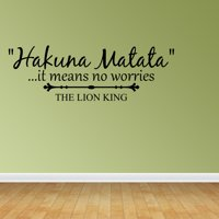 Wall Decal Quote Hakuna Matata It Means No Worries The Lion King Vinyl Decal JR957