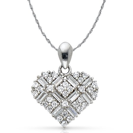 14K White Gold Heart Cross Hatch Cubic Zirconia CZ Charm Pendant with 1.5mm Rope Chain Necklace