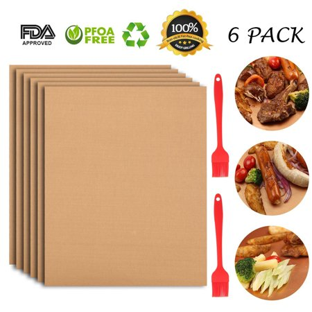 6 Pack Copper BBQ Grill Mats,100% Non-stick for Steaks,Vegetables, Fish, Shrimp,FDA-Approved, Reusable and Easy to Clean,