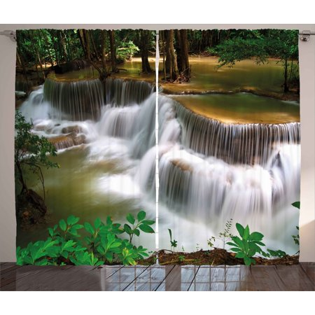 Nature Curtains 2 Panels Set, Tropical Paradise Waterfall in Thailand Surreal Cascade Wonders of the World Scenery, Window Drapes for Living Room Bedroom, 108W X 63L Inches, Multicolor, by Ambesonne ()