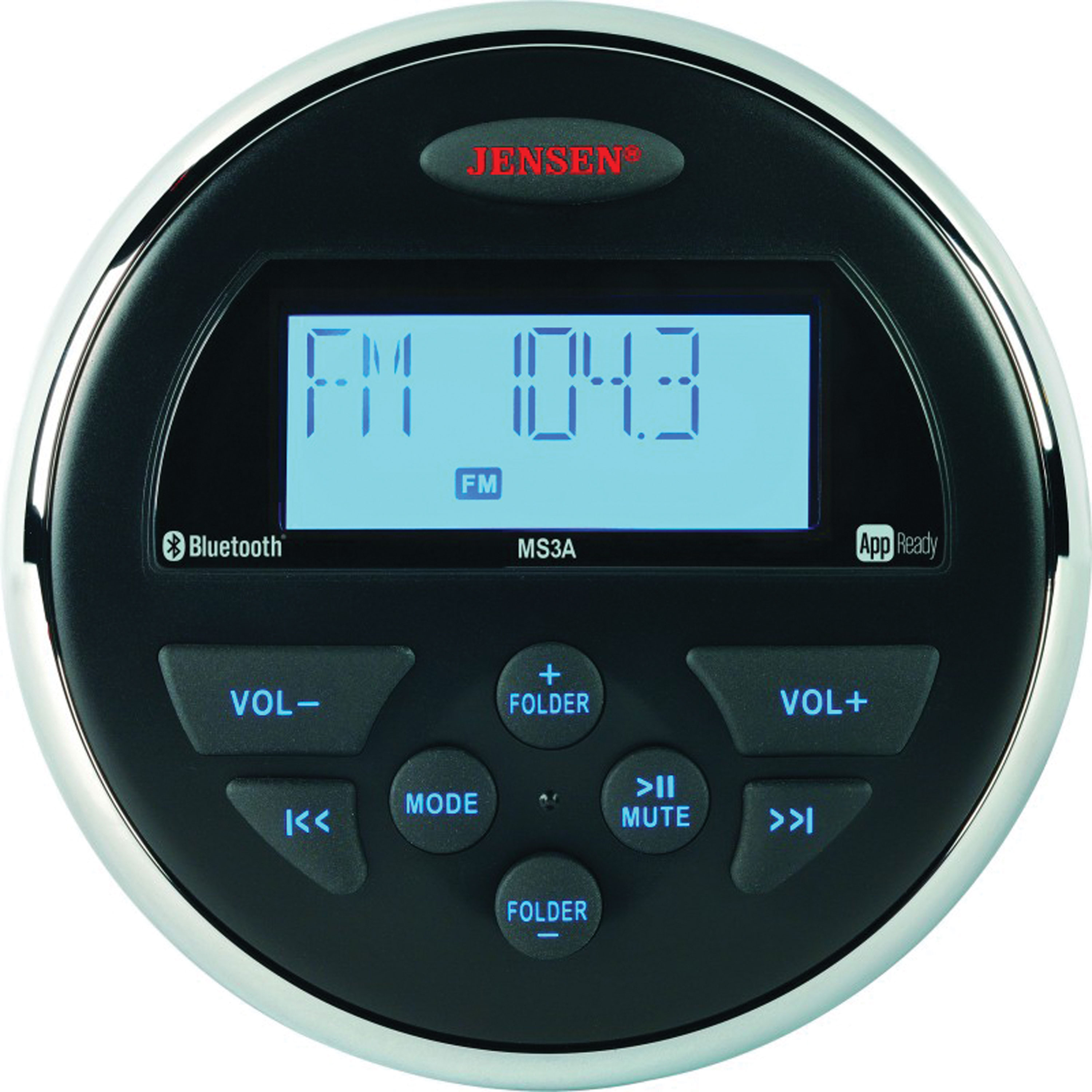 "JENSEN MS3ARTL AM/FM/USB/Bluetooth Compact 3.5"" Round Waterproof Stereo with App Control"