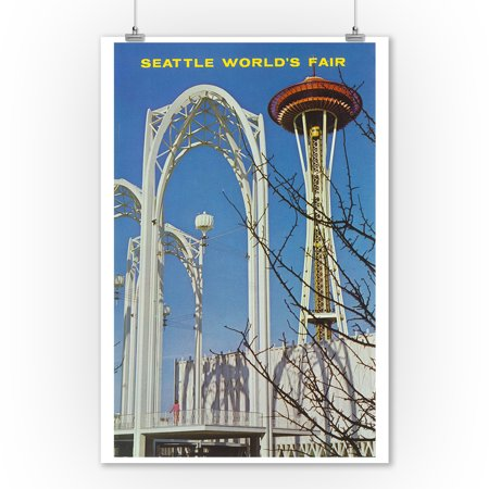 Seattle, Washington - US Science Bldg Spires, Space Needle, Worlds Fair (9x12 Art Print, Wall Decor Travel Poster) - Science Decor