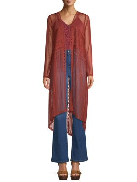 Time and Tru Women's Laced Mixed Kimono