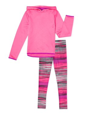 Cheetah Girls Quilted Performance Fleece Hoodie and Printed Legging, 2-Piece Active Set Size 4-16 & Plus