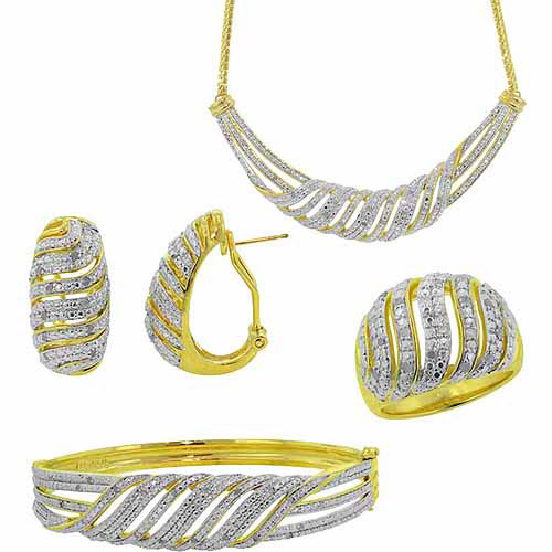 """1-Carat T.W. Round White Diamond Rhodium-plated Ring, Earrings, Bangle and Necklace Set, 17"""", Size 7"""