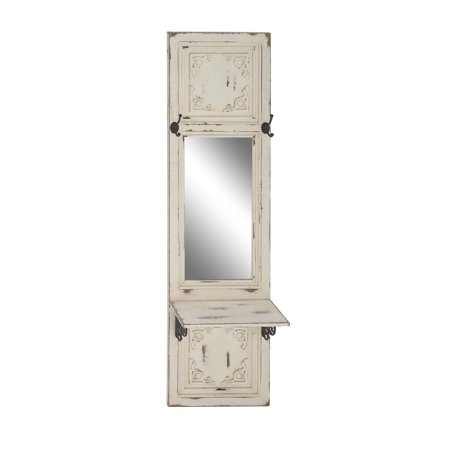 Decmode Traditional Beige Wood And Metal Rectangular Wall Mirror With Hooks And Shelf, Beige