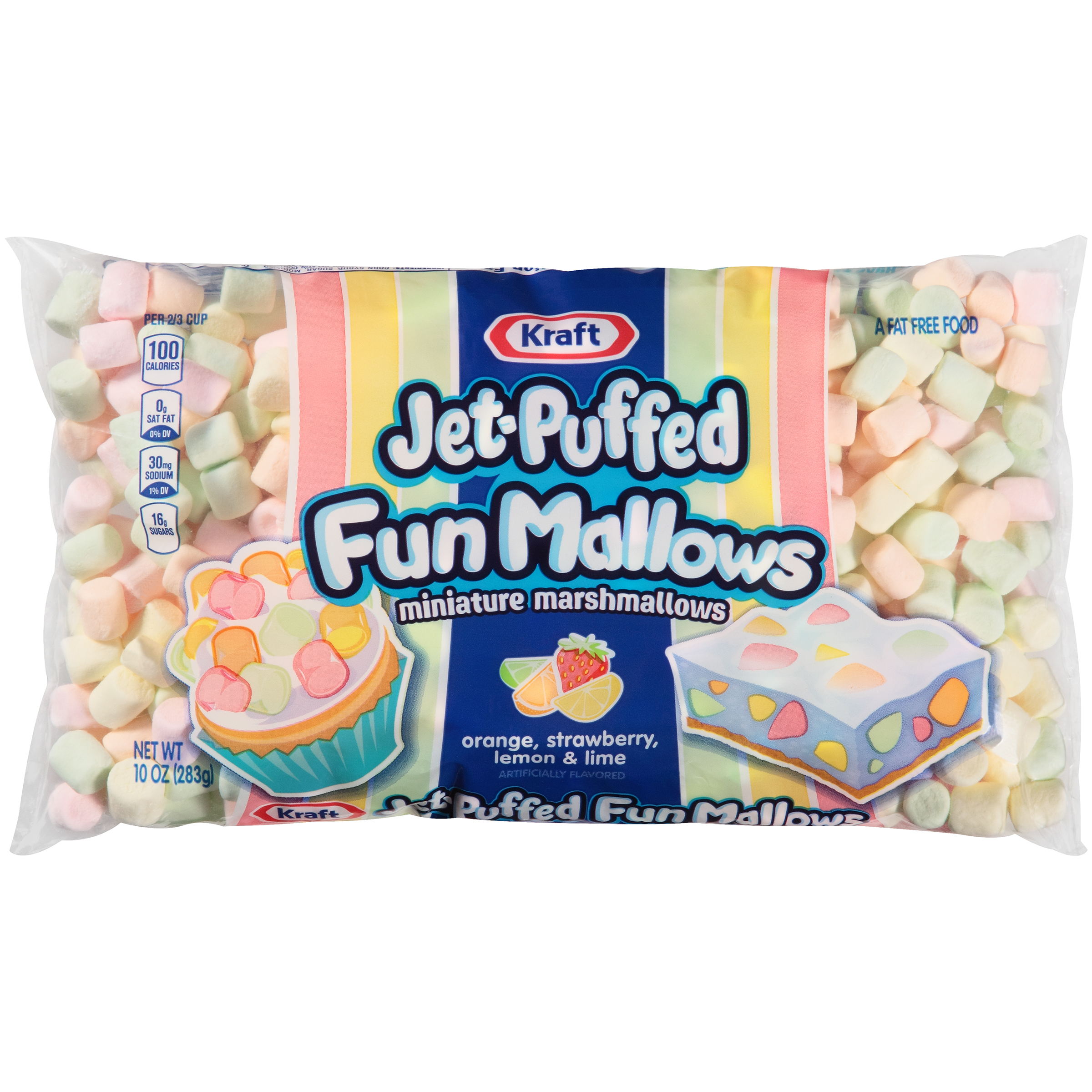 (6 pack) Kraft Jet- Puffed FunMallows Colored Miniature Marshmallows 10 oz Wrapper
