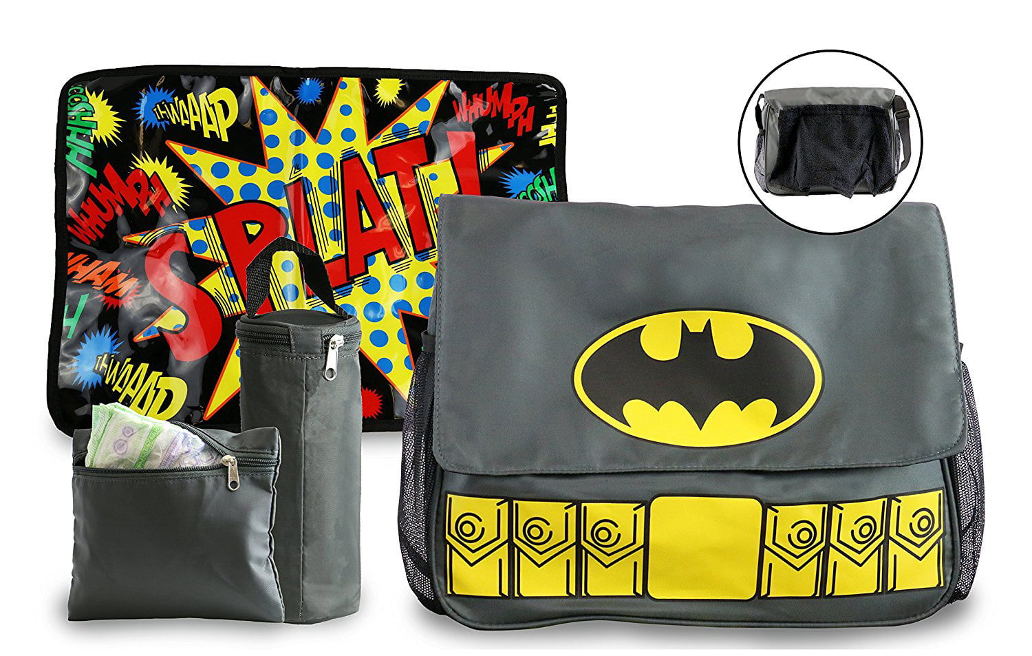 Batman, Superman and Wonder Woman Diaper Bag and Changing Pad with Detachable Bottle Pouch and Burp Cloth... by DC