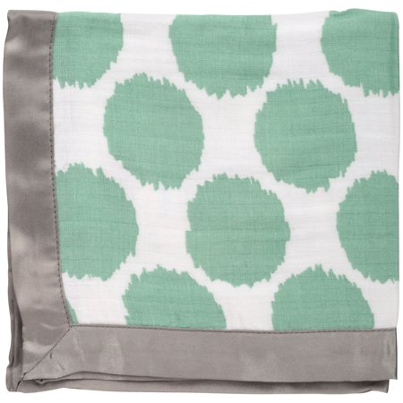 Green Security Blanket (Bacati Mint & Grey Dots/Stripes Baby Security Blankets 2 pc Box)