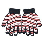 Gold Medal Unisex Black White Pink Stripe Print Ribbed Cuff Gloves