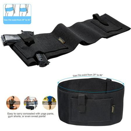 HURRISE Soft Black Elastic Slim Concealed Carry Belly Gun Pistol Holster Waist Band Belt,Belly Holster, Concealed Waist