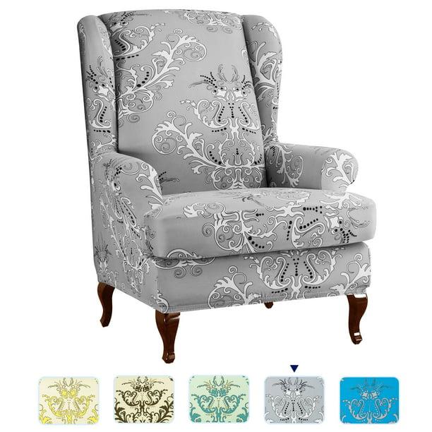 Subrtex Stretch 2 Piece Vector Fl, Grey Wingback Chair Slipcover