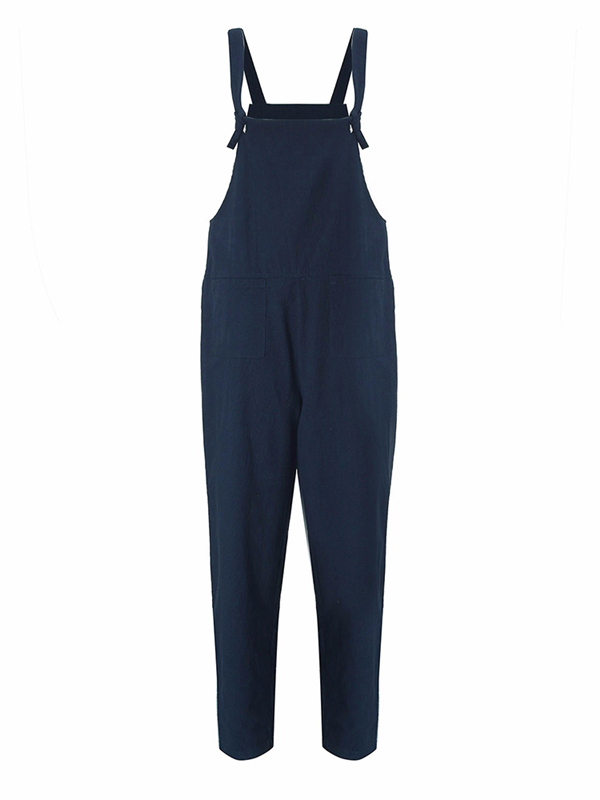 Women Casual Loose Navy Cotton Jumpsuit Strap Dungaree Trousers Overalls
