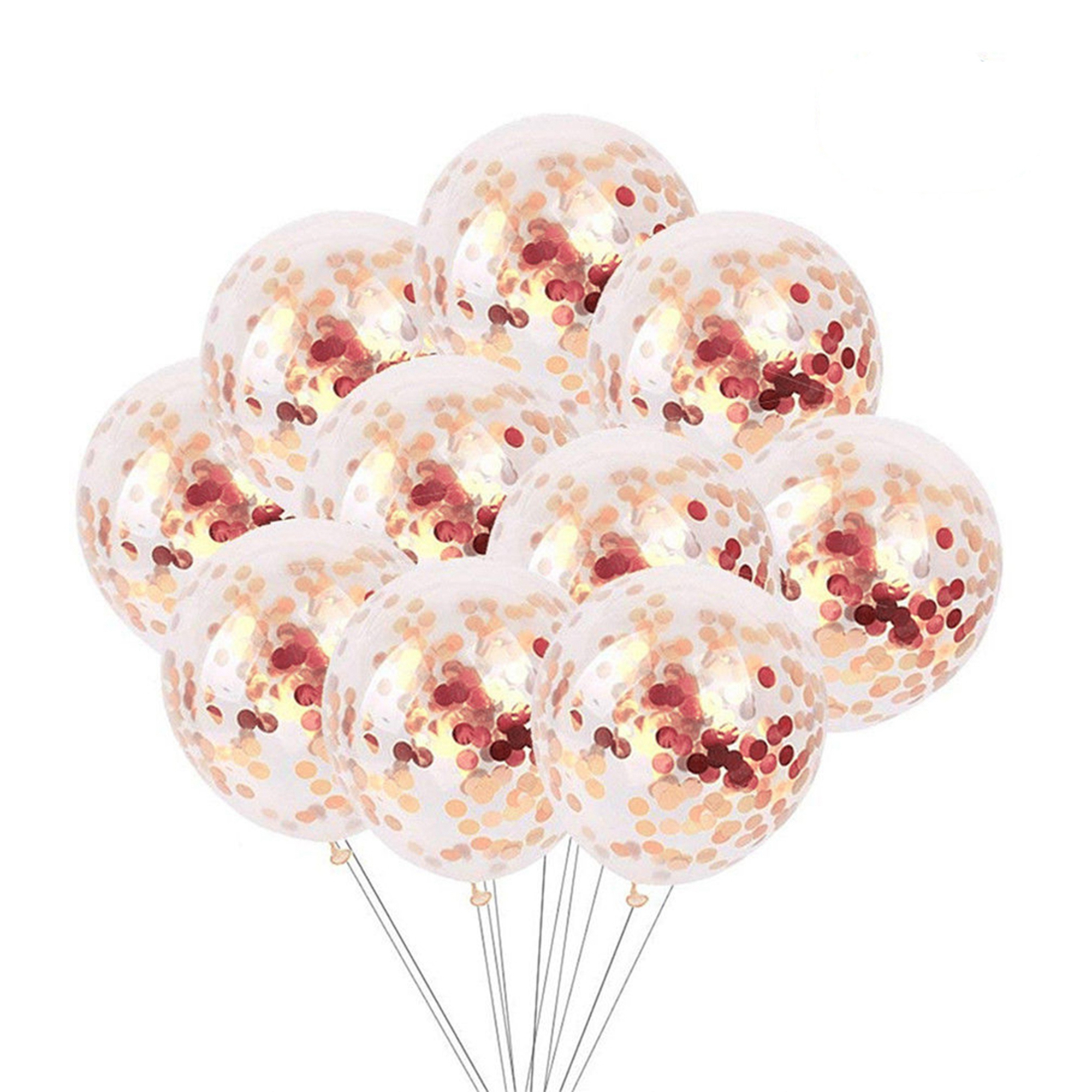 10pcs/lot Rose Gold Confetti Balloons 12 Inch Clear Latex Sequin Balloon Wedding 1st Birthday Party Baby Shower Decoration Kids Fun Toys