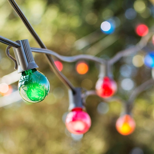 Outdoor String Lights Globe String Lights 1.25 in E12 Bulbs 100ft C7 Black Wire Multicolor by LSD