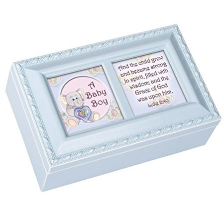- Cottage Garden A Baby Boy Distressed Blue Petite Music Box / Jewelry Box Plays Jesus Loves Me