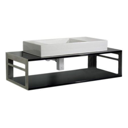 Rectangular Above Mount - Whitehaus WHTWINNG Aeri Counter Top and Shelf Unit with Towel Rails and Rectangular Above Mount Porcelain Basin