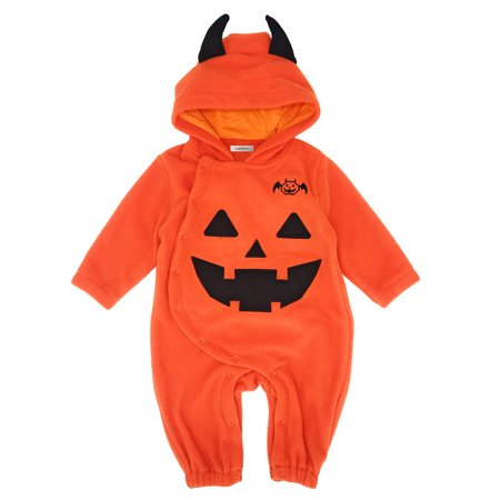 StylesILove Baby Toddler Halloween Fleece Chic Pumpkin Costume Hooded Romper (95/18-24 Months) (Cutest Halloween Costumes Babies)