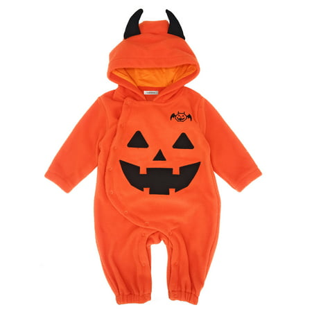 StylesILove Baby Toddler Halloween Fleece Chic Pumpkin Costume Hooded Romper (95/18-24 Months)