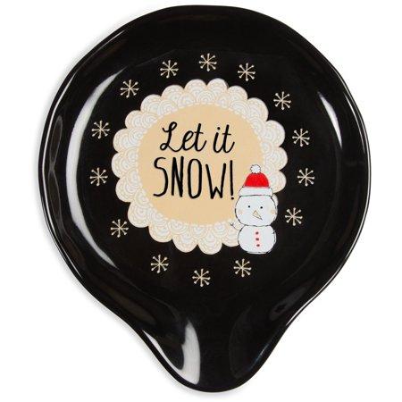 Pavilion - Let it Snow! Christmas Snowman Ceramic Black Spoon Rest Christmas Tree Spoon Rest