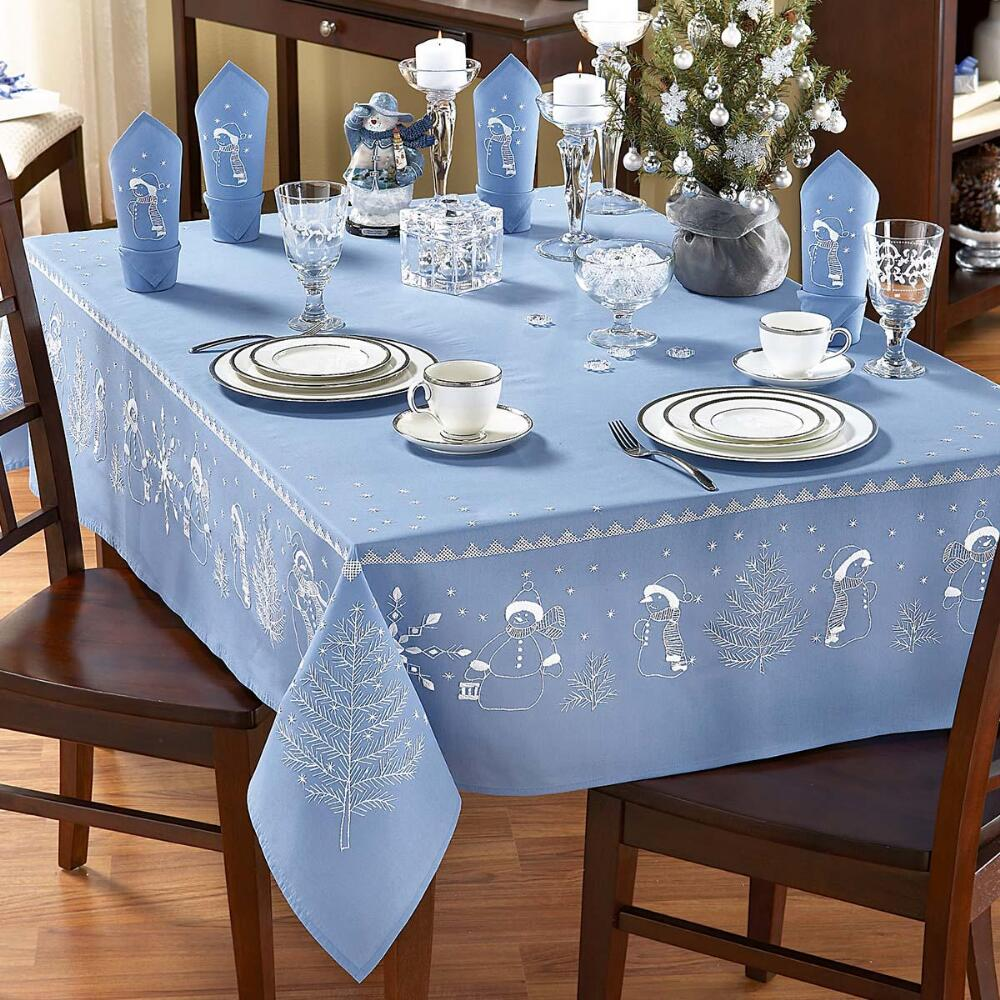 Nob Hill White Snowmen on Blue Table Runner Stamped Cross-Stitch