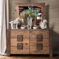 Transitional Style Poised Wooden Dresser, Rustic Natural Brown