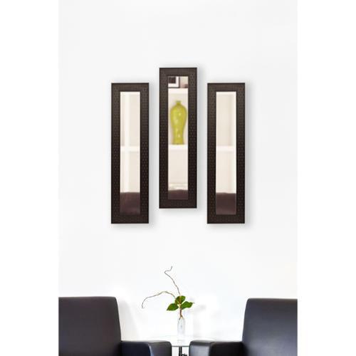American Made Rayne Espresso Bricks Mirror Panel Set of 2- 8.5 x 34.5