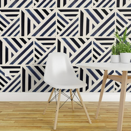 Removable Water Activated Wallpaper Geometric Blue Midnight Watercolor