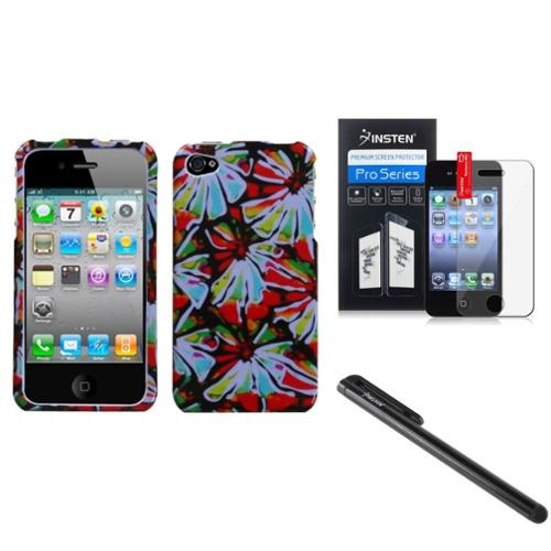 Insten Flower Power Phone Case Cover LCD Screen Protector Stylus For APPLE iPhone 4S/4