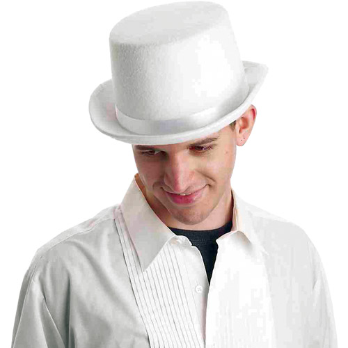 White Deluxe Top Hat Halloween Accessory