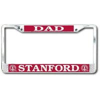 Stanford Cardinal Dad Polished Chrome License Plate Frame - SILVER