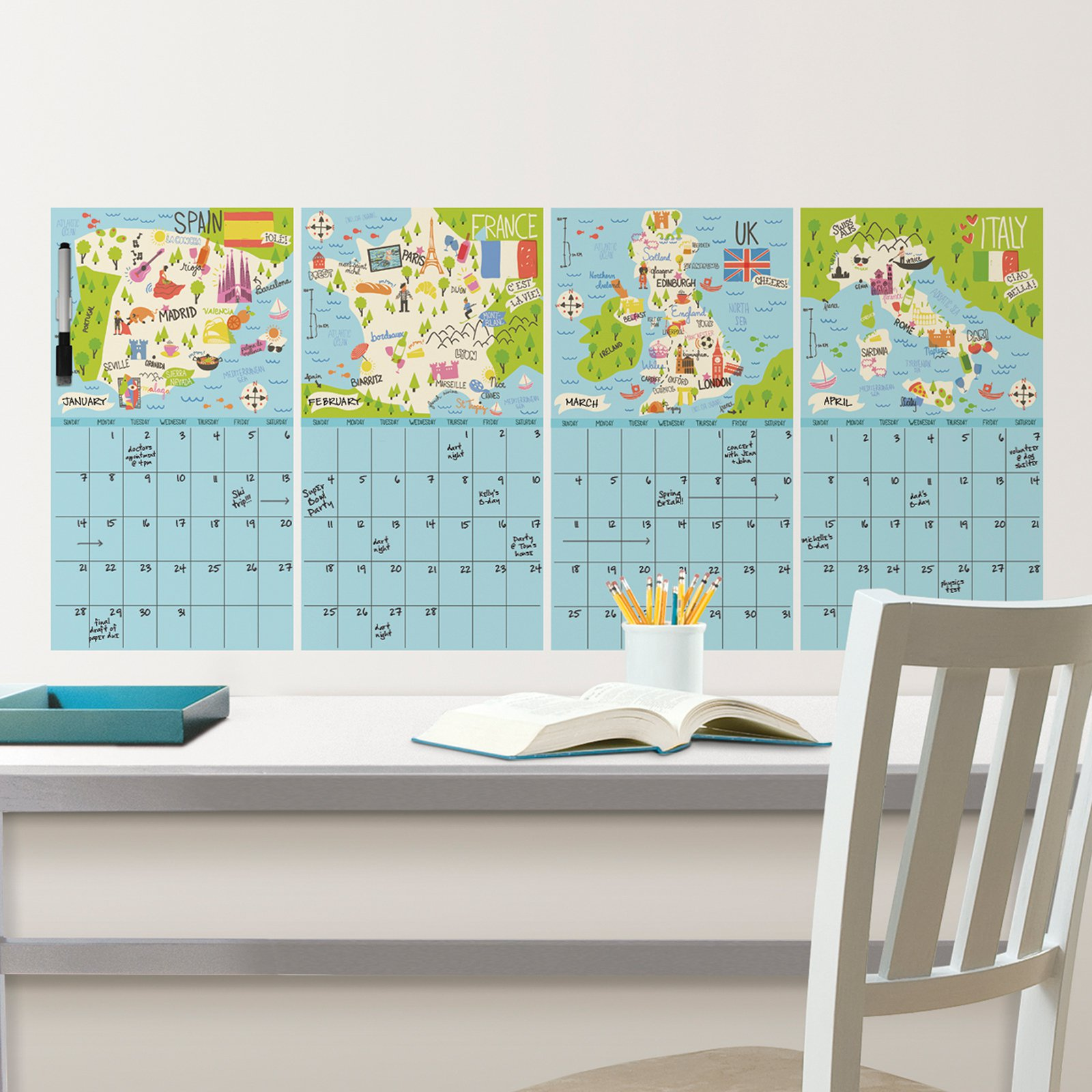 WallPops Bon Voyage 4 Piece Calendar Decal Set