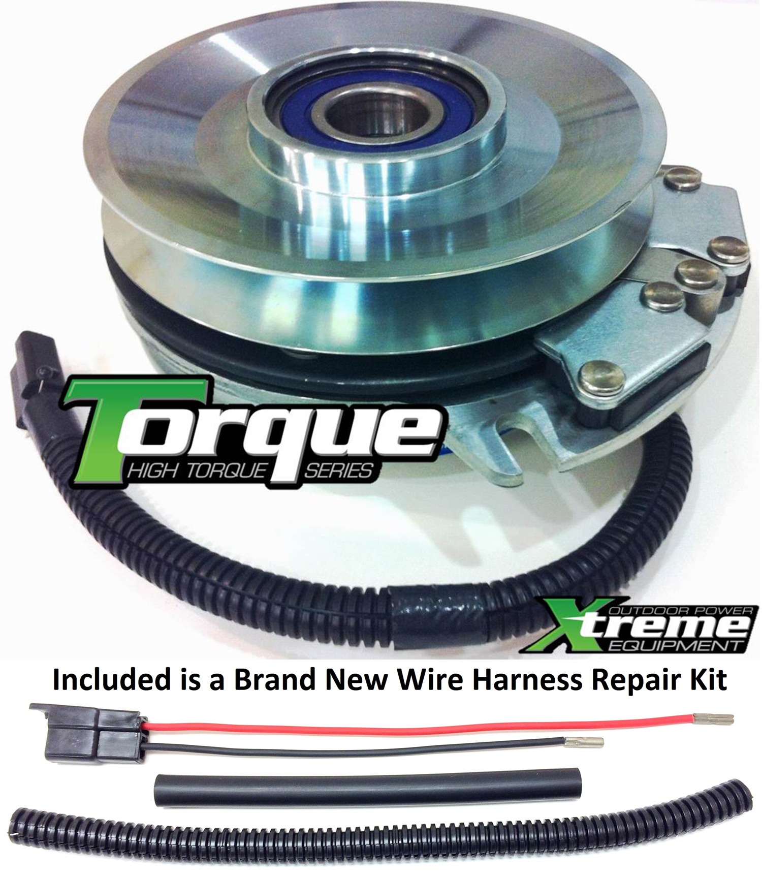 Bundle - 2 items: PTO Electric Blade Clutch, Wire Harness Repair Kit.  Replaces John Deere Mower PTO Clutch Z-Trak 655 TCA12522 -w/ Wire Repair Kit  !