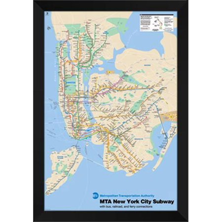 Framed New York Subway Map.New York Subway Map 28x40 Framed Art Print