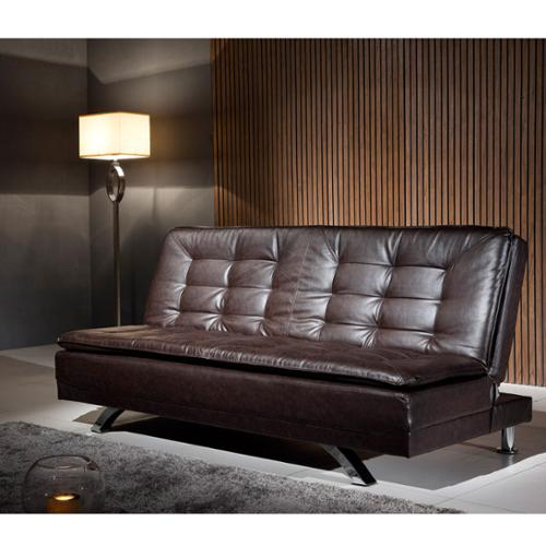 Corvus  Espresso Leather-look Sofa with Stainless Steel Legs