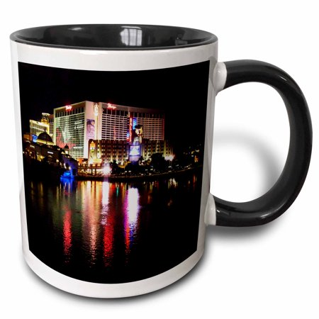 3dRose Flamingo Casino in Las Vegas Nevada - Two Tone Black Mug, 11-ounce