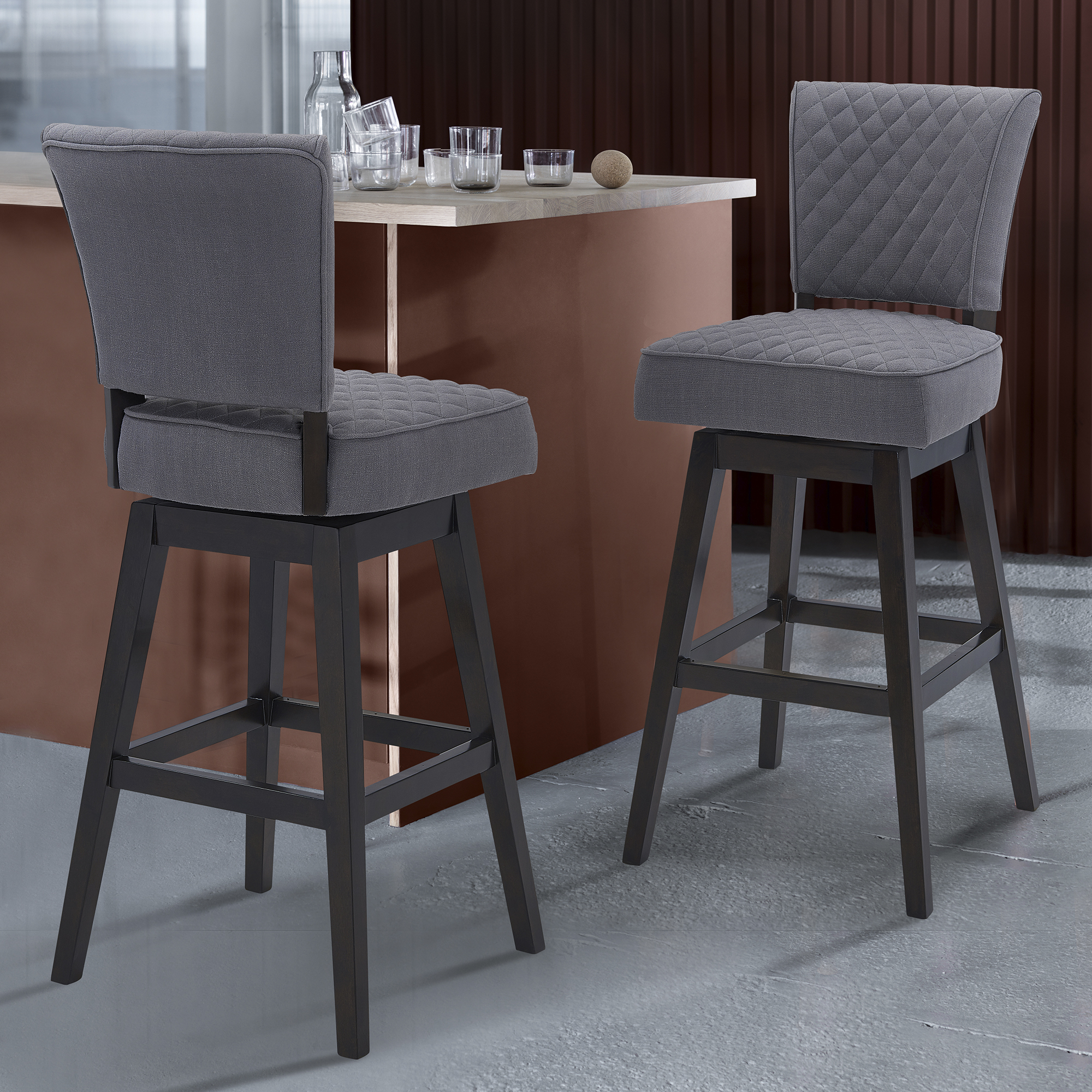 Dearborn 30 Bar Height Wood Swivel Tufted Barstool In Espresso Finish With Grey Fabric Walmart Com Walmart Com