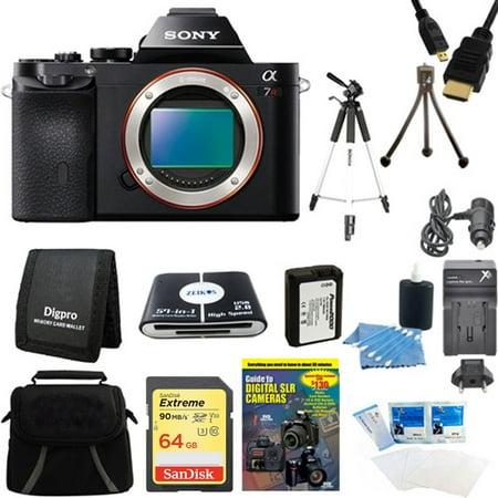 Sony Alpha 7R a7R Digital Camera 64GB SDXC Card, Battery, and Tripod Bundle - Includes camera, 64GB SDXC Memory Card, 59