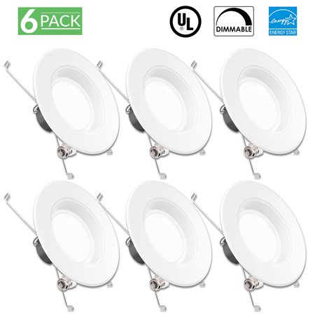 - Sunco Lighting 6 Pack 5 / 6 Inch Baffle Recessed Retrofit Kit LED Light Fixture, 13W (75W Replacement), 5000K Kelvin Daylight, 830 Lumen, Dimmable, Quick/Easy Can Install, Wet Area