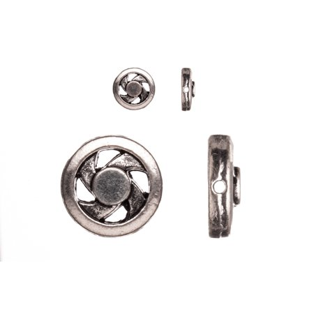 Pewter Beads, Burnished Silver Plated, Single-Sided Round Windmill Shape, 12mm Sold per pkg of 10pcs per - Plated Round Shape