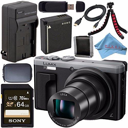 Panasonic Lumix DMC-ZS60 Digital Camera (Silver) DMC-ZS60-S + DMW-BLG10 Lithium Ion Battery + External Rapid Charger + Sony 64GB SDXC Card + Small Case + Flexible Tripod Bundle