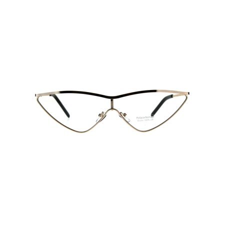 - Womens Goth Shield Narrow Cat Eye Metal Rim Flat Top Eye Glasses Gold