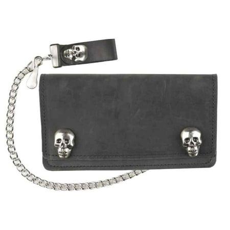 Mascorro Mens 6 In Biker Chain Wallet W  Skull Snaps  Genuine Leather Sk410