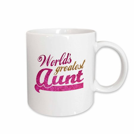 3dRose Worlds Greatest Aunt - Best Auntie ever - pink and gold text - faux sparkles - matte glitter-look, Ceramic Mug,
