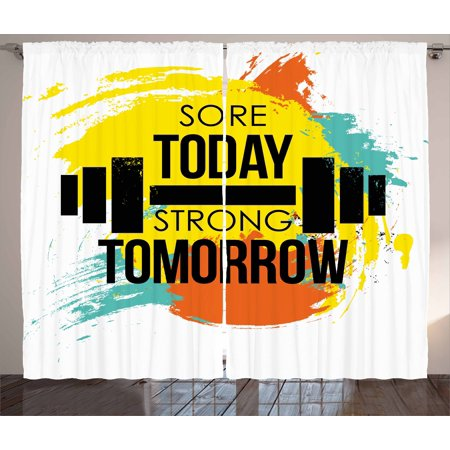 Fitness Curtains 2 Panels Set, Sore Today Strong Tomorrow Gym Quote Typography Colorful Energetic Brushstrokes, Window Drapes for Living Room Bedroom, 108W X 84L Inches, Multicolor, by Ambesonne ()