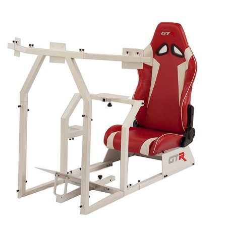 GTR Racing Simulator GTAF-WHT-S105LRDWHT - GTA-F Model (White) Triple or Single Monitor Stand with Red/White Adjustable Leatherette Seat, Racing Simulator Cockpit gaming chair Single Monitor