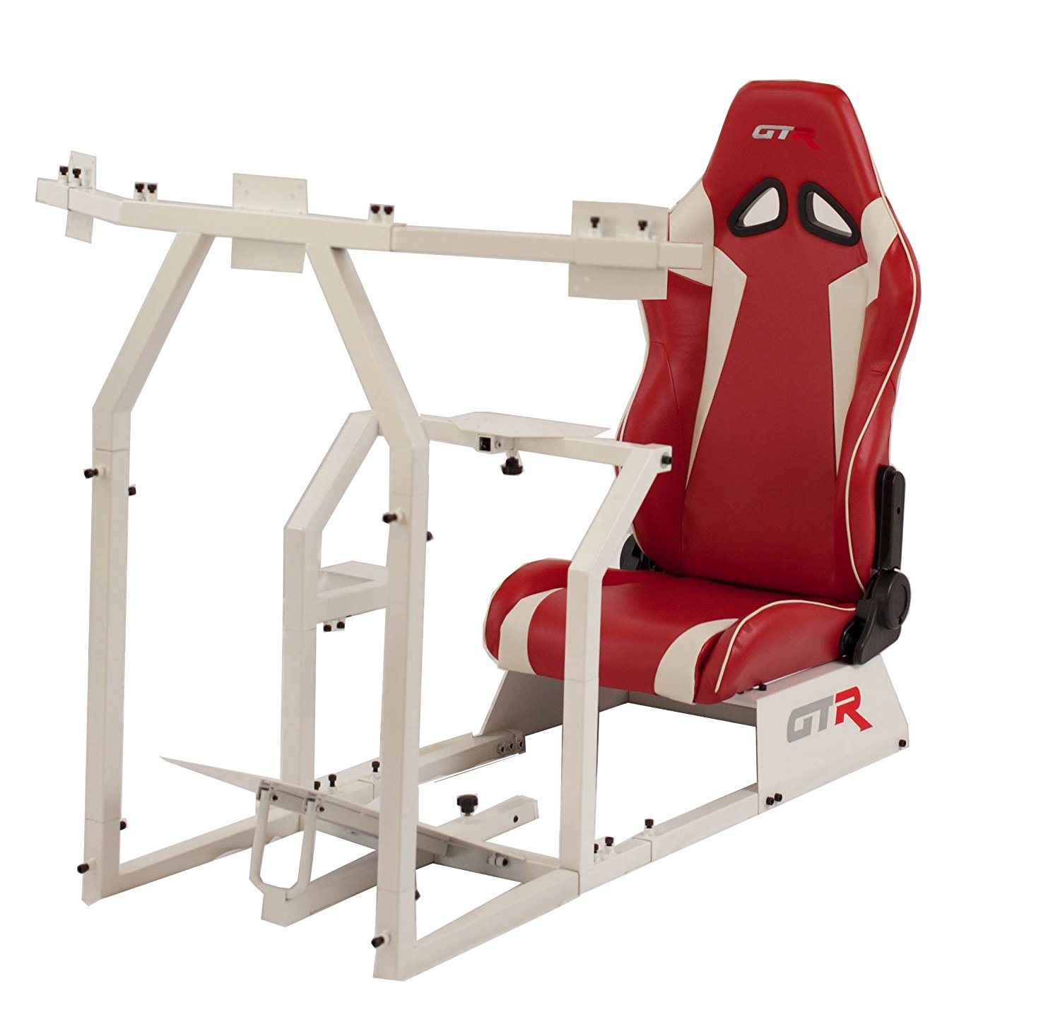 GTR Racing Simulator GTAF-WHT-S105LRDWHT - GTA-F Model (White) Triple or Single Monitor Stand with Red/White Adjustable Leatherette Seat, Racing Simulator Cockpit gaming chair Single Monitor Stand