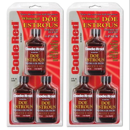 (6) Code Red OA1325 Certified Deer Hunting Doe Estrous Scent Bottles | 2 Fl. Oz.